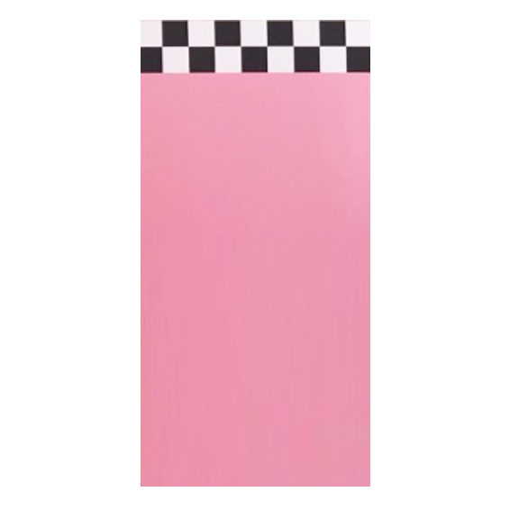 Pink Self-Standing Wall w/Black and White Checkered Stripe W4ft x H8ft MODEL A