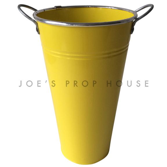 Tall Metal Bucket w/Handles Yellow