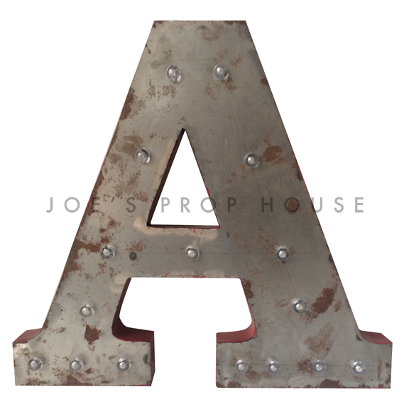 18in Galvanized Metal Marquee Letter A