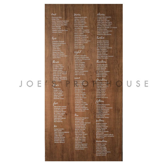 Double Sided Self-Standing Wood Seating Chart Wall W4ft x H8ft