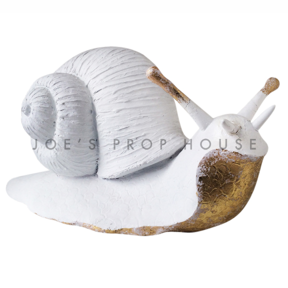 Giant Papier Maché Snail White/Gold