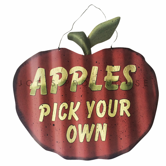 Apples Pick Your Own Metal Sign
