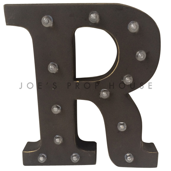 12in Charcoal Metal Marquee Letter R