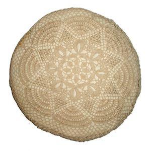 Vintage Crochet Round Accent Pillow Beige D15in