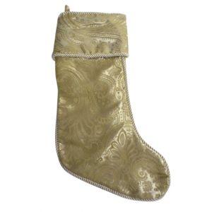 BUY ME / USED ITEM $12.99 Gold Paisley Christmas Stocking